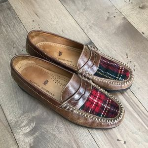 Martin Dingman Bill Penny Loafers Leather Plaid